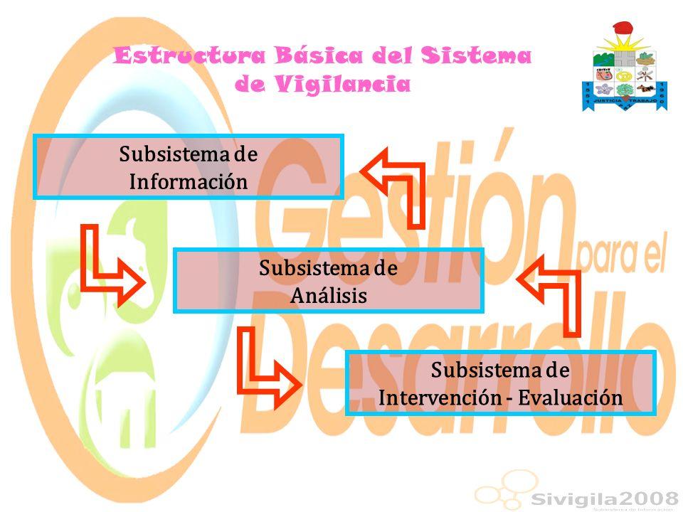 Subsistema de Información Estructura Básica del Sistema de Vigilancia Subsistema de Análisis Subsistema de Intervención - Evaluación