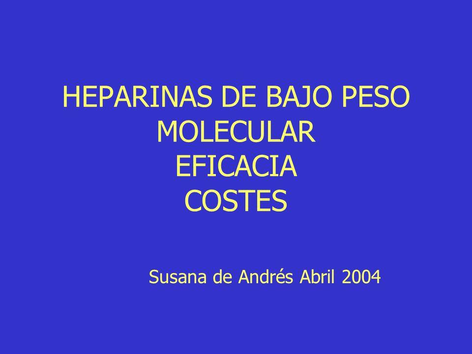 HEPARINAS DE BAJO PESO MOLECULAR EFICACIA COSTES Susana de Andrés Abril 2004