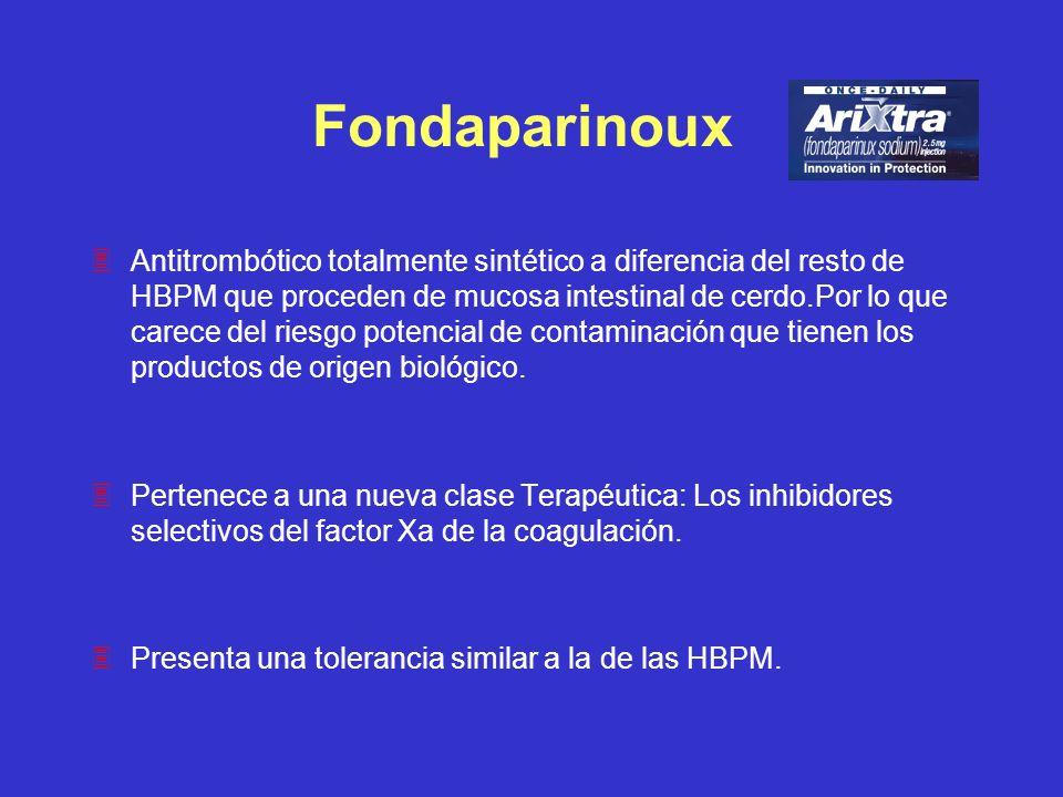Fondaparinoux 3Antitrombótico totalmente sintético a diferencia del resto de HBPM que proceden de mucosa intestinal de cerdo.Por lo que carece del rie