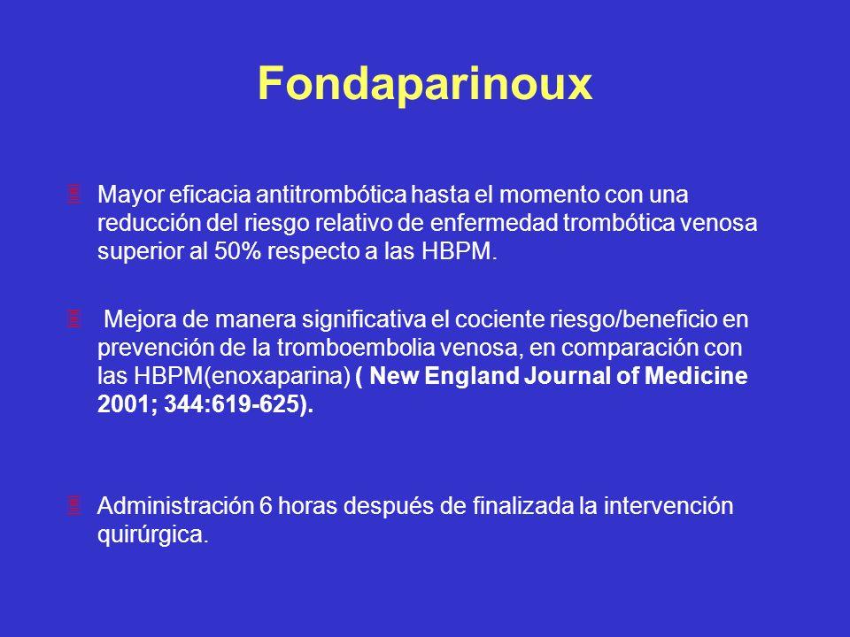 Fondaparinoux 3Mayor eficacia antitrombótica hasta el momento con una reducción del riesgo relativo de enfermedad trombótica venosa superior al 50% re