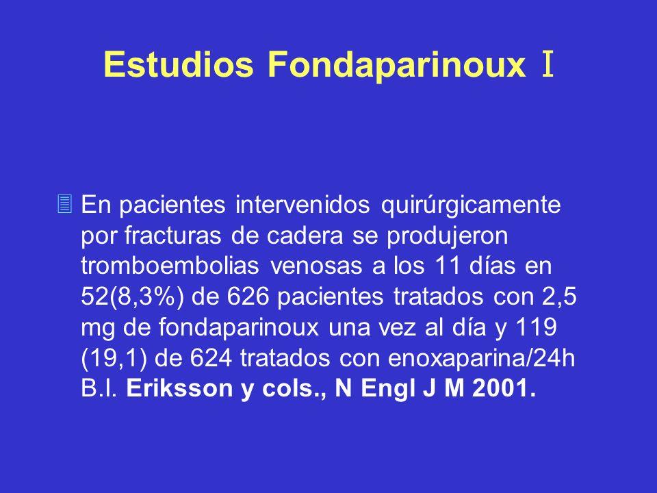 Estudios Fondaparinoux I 3En pacientes intervenidos quirúrgicamente por fracturas de cadera se produjeron tromboembolias venosas a los 11 días en 52(8