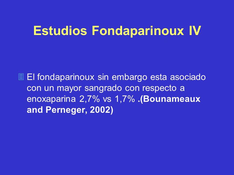 Estudios Fondaparinoux IV El fondaparinoux sin embargo esta asociado con un mayor sangrado con respecto a enoxaparina 2,7% vs 1,7%.(Bounameaux and Per