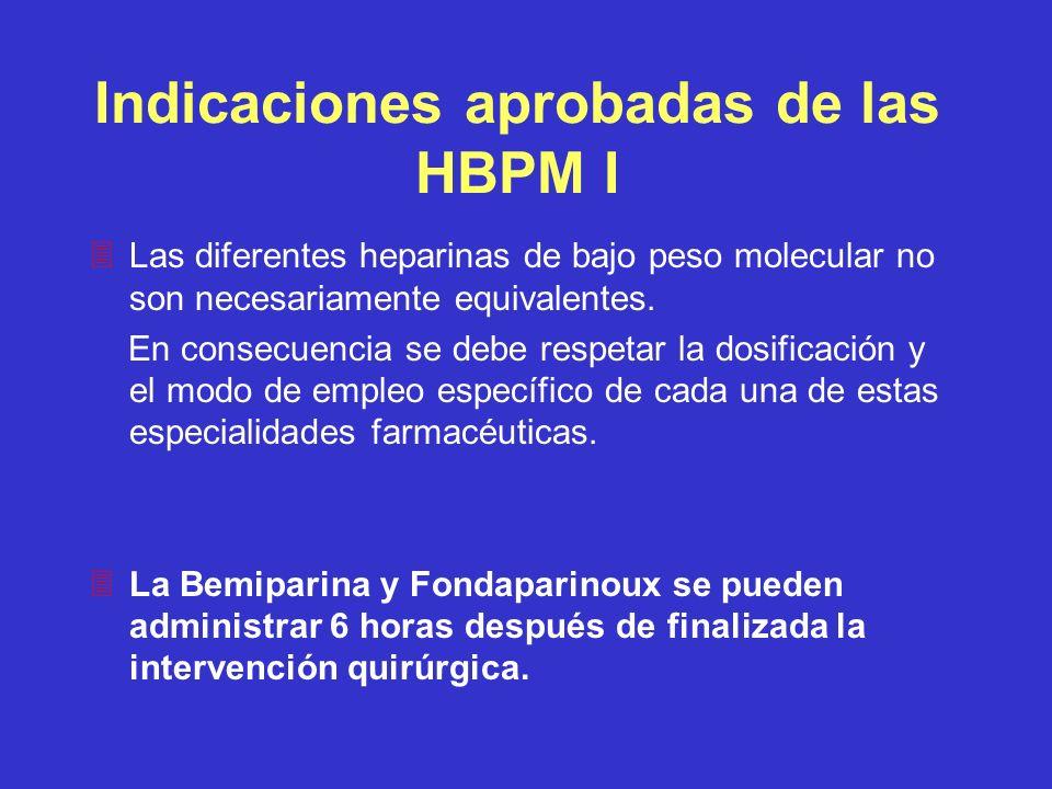 Indicaciones aprobadas de las HBPM I 3Las diferentes heparinas de bajo peso molecular no son necesariamente equivalentes. En consecuencia se debe resp