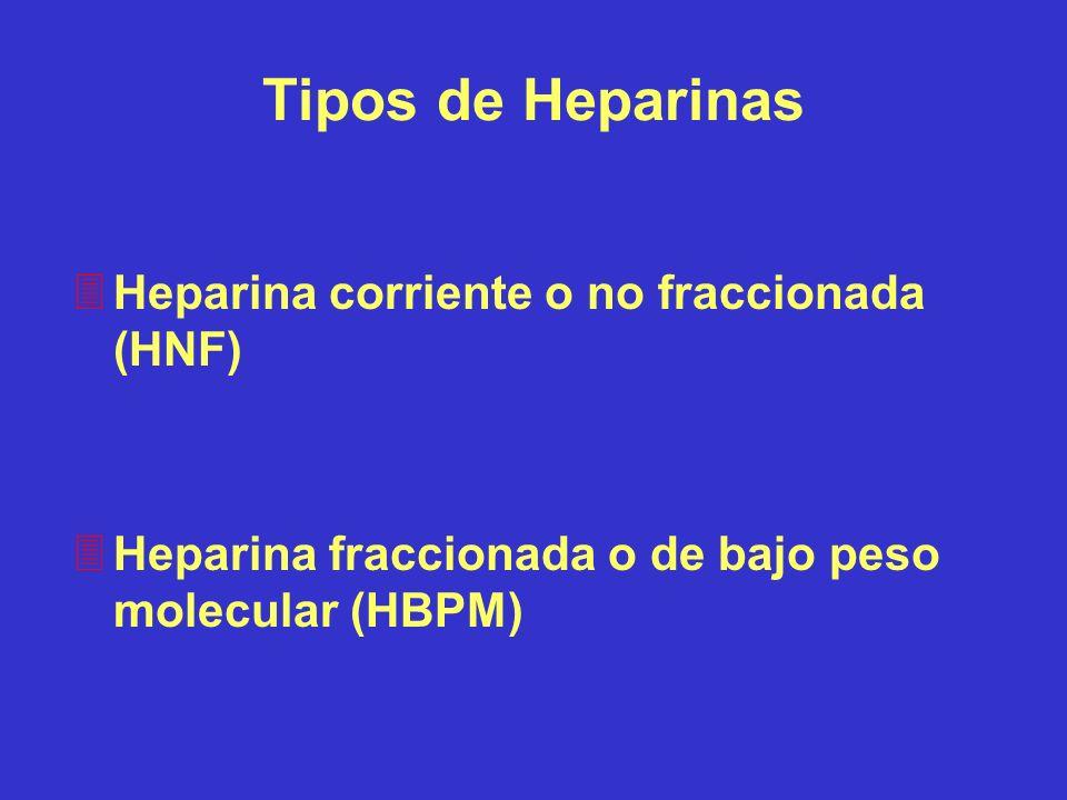 Tipos de Heparinas 3Heparina corriente o no fraccionada (HNF) 3Heparina fraccionada o de bajo peso molecular (HBPM)