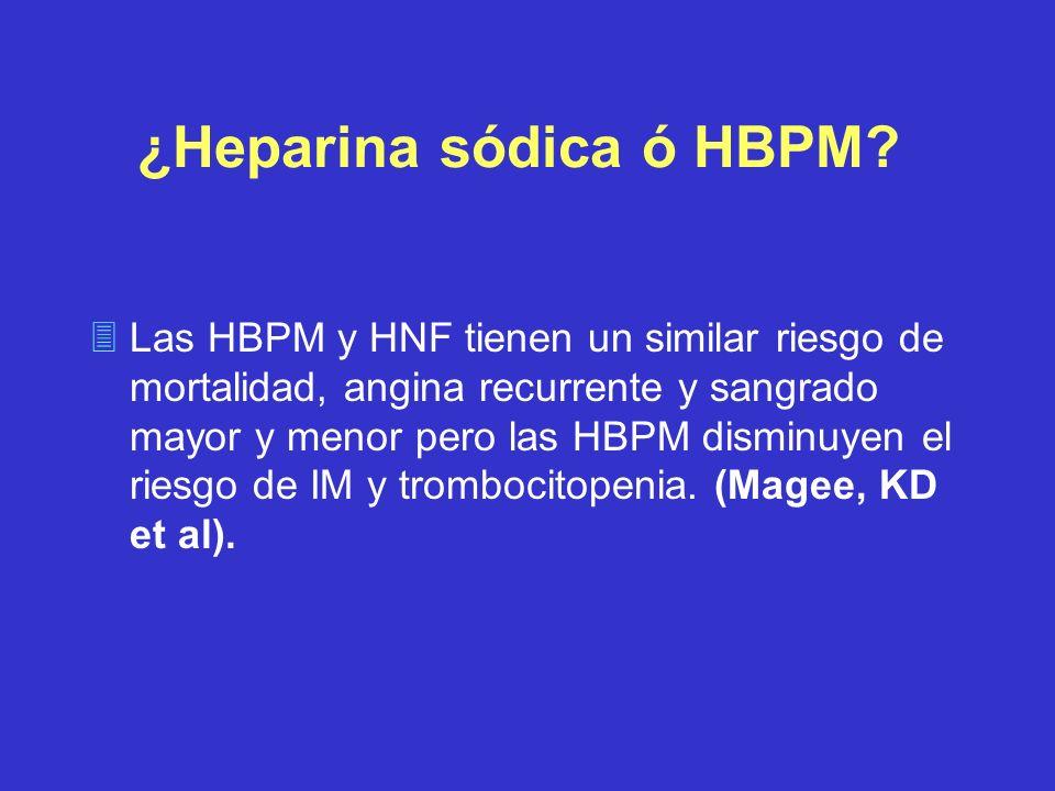 ¿Heparina sódica ó HBPM? 3Las HBPM y HNF tienen un similar riesgo de mortalidad, angina recurrente y sangrado mayor y menor pero las HBPM disminuyen e