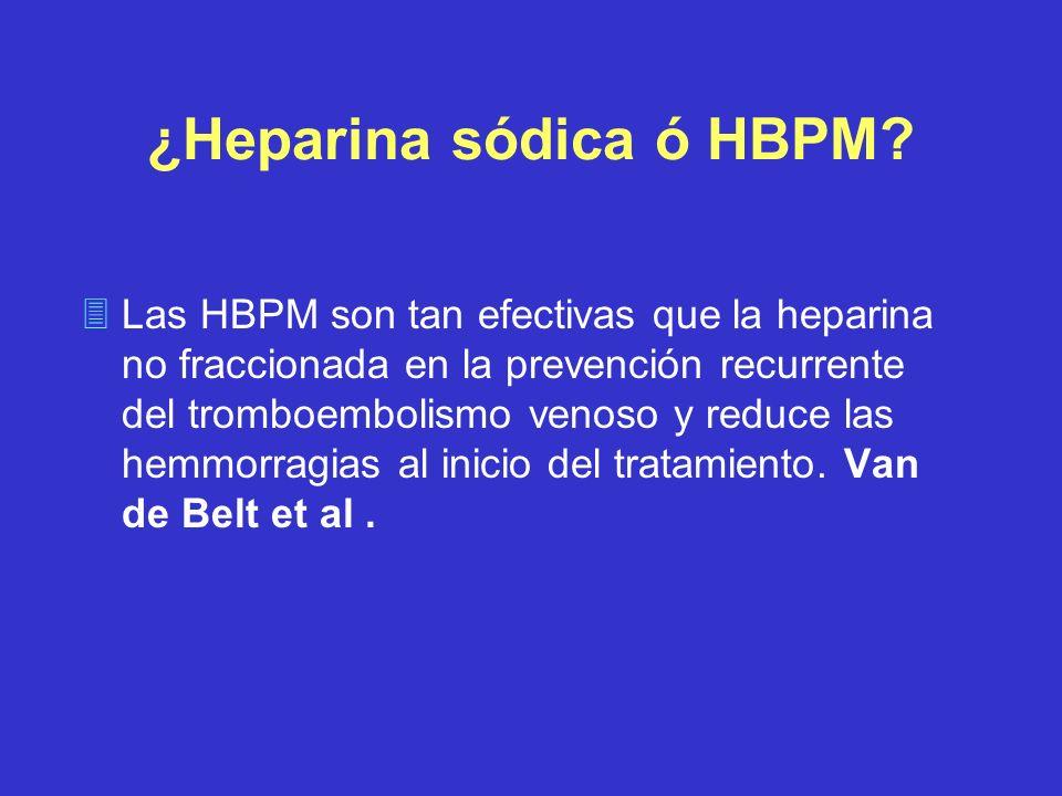 ¿Heparina sódica ó HBPM? 3Las HBPM son tan efectivas que la heparina no fraccionada en la prevención recurrente del tromboembolismo venoso y reduce la