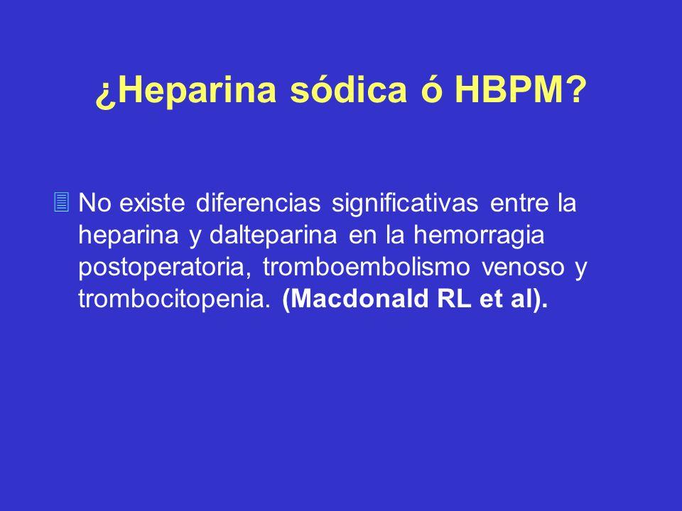 ¿Heparina sódica ó HBPM? 3No existe diferencias significativas entre la heparina y dalteparina en la hemorragia postoperatoria, tromboembolismo venoso