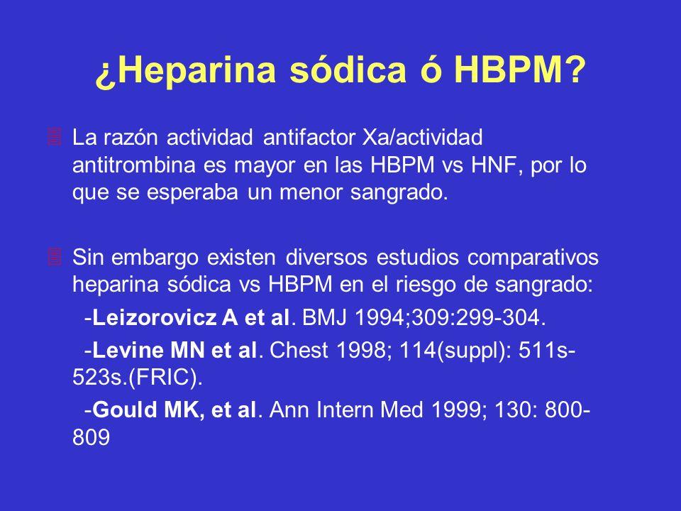 ¿Heparina sódica ó HBPM? 3La razón actividad antifactor Xa/actividad antitrombina es mayor en las HBPM vs HNF, por lo que se esperaba un menor sangrad