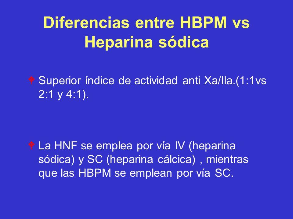 Diferencias entre HBPM vs Heparina sódica WSuperior índice de actividad anti Xa/IIa.(1:1vs 2:1 y 4:1). WLa HNF se emplea por vía IV (heparina sódica)