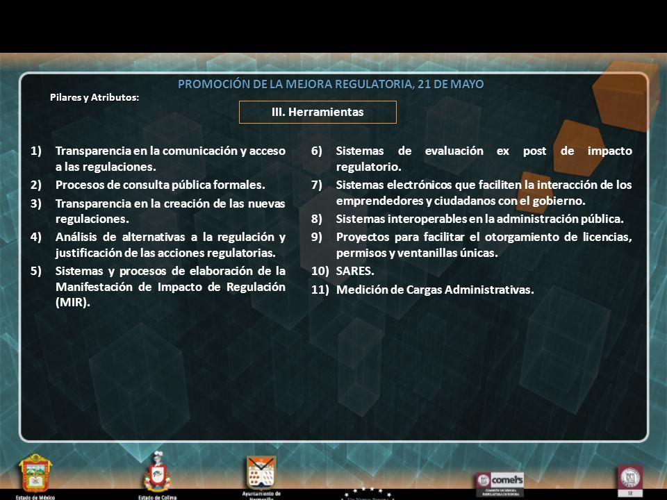AMSDE PROMOCIÓN DE LA MEJORA REGULATORIA, 21 DE MAYO III.
