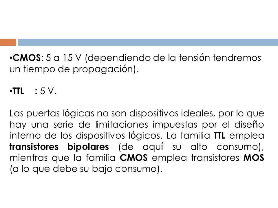 CMOS : 5 a 15 V (dependiendo de la tensi ó n tendremos un tiempo de propagaci ó n). TTL : 5 V. Las puertas l ó gicas no son dispositivos ideales, por