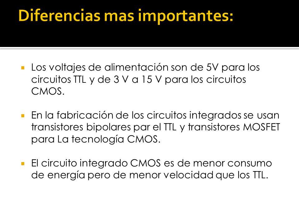 Los voltajes de alimentación son de 5V para los circuitos TTL y de 3 V a 15 V para los circuitos CMOS. En la fabricación de los circuitos integrados s