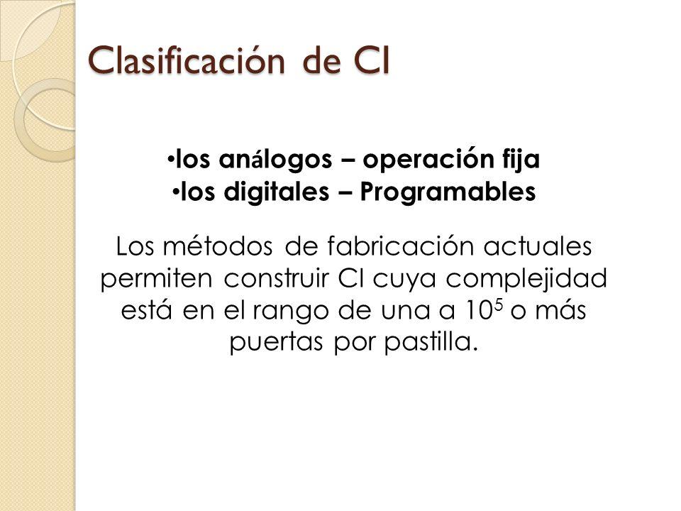Clasificación de CI los an á logos – operación fija los digitales – Programables Los métodos de fabricación actuales permiten construir CI cuya comple