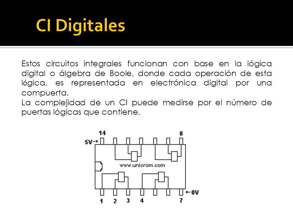 Estos circuitos integrales funcionan con base en la lógica digital o álgebra de Boole, donde cada operación de esta l ó gica, es representada en elect
