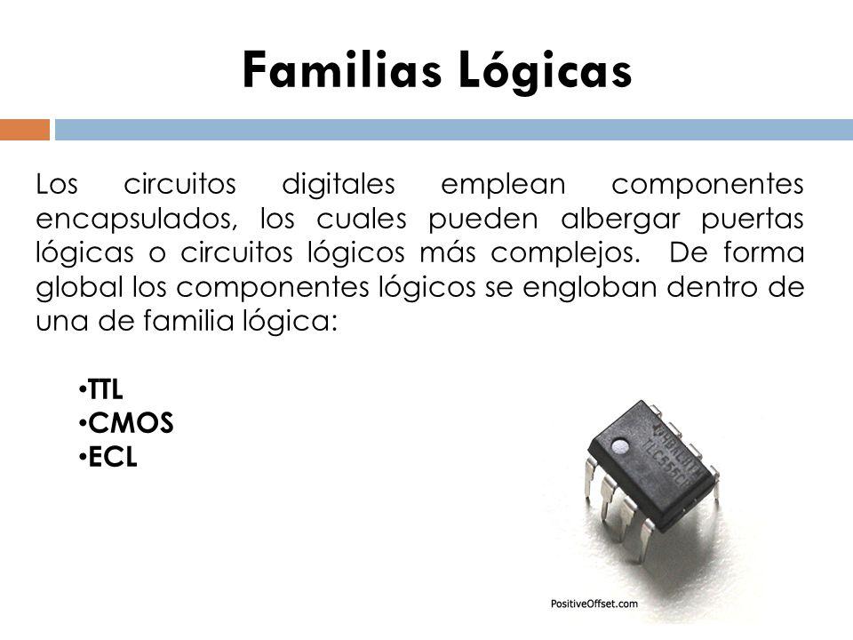 Familias Lógicas Los circuitos digitales emplean componentes encapsulados, los cuales pueden albergar puertas lógicas o circuitos lógicos más complejo