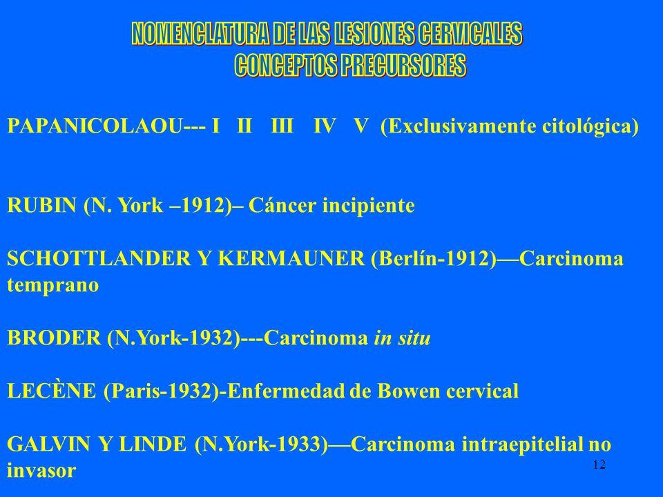 12 PAPANICOLAOU--- I II III IV V (Exclusivamente citológica) RUBIN (N. York –1912)– Cáncer incipiente SCHOTTLANDER Y KERMAUNER (Berlín-1912)Carcinoma