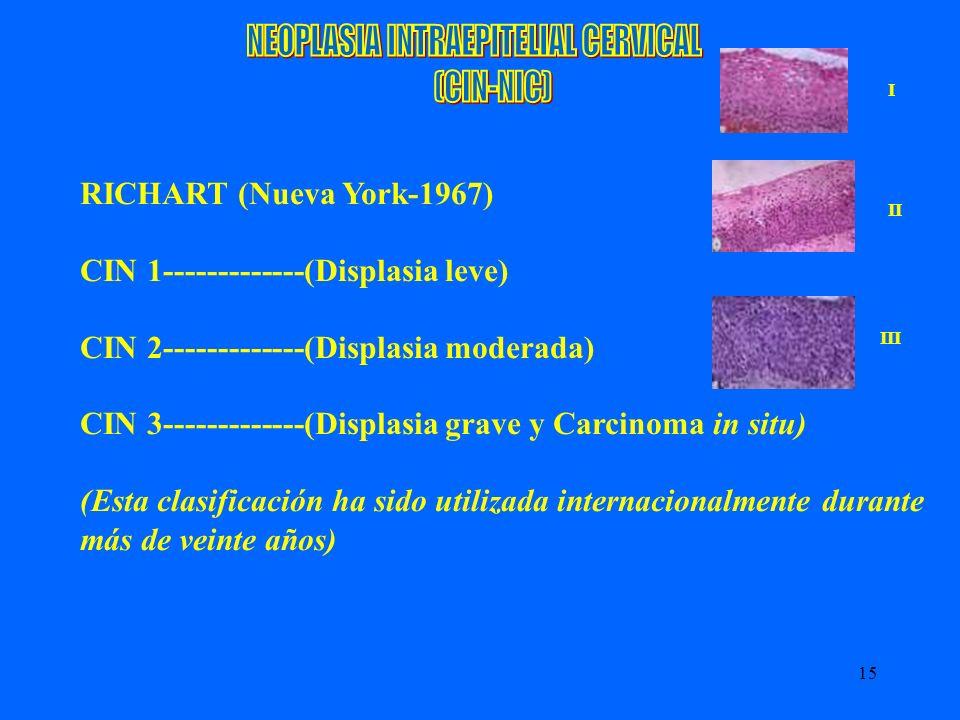15 RICHART (Nueva York-1967) CIN 1-------------(Displasia leve) CIN 2-------------(Displasia moderada) CIN 3-------------(Displasia grave y Carcinoma