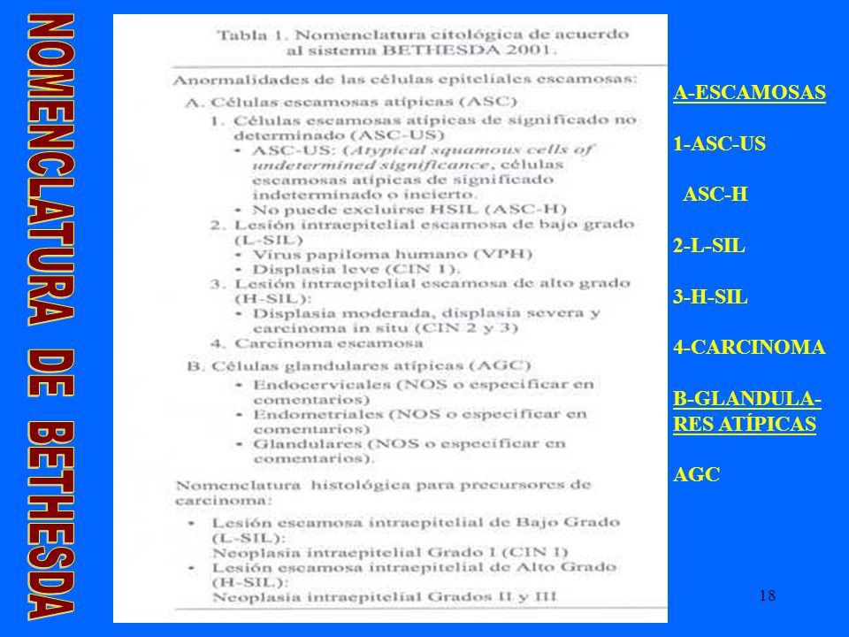 18 A-ESCAMOSAS 1-ASC-US ASC-H 2-L-SIL 3-H-SIL 4-CARCINOMA B-GLANDULA- RES ATÍPICAS AGC