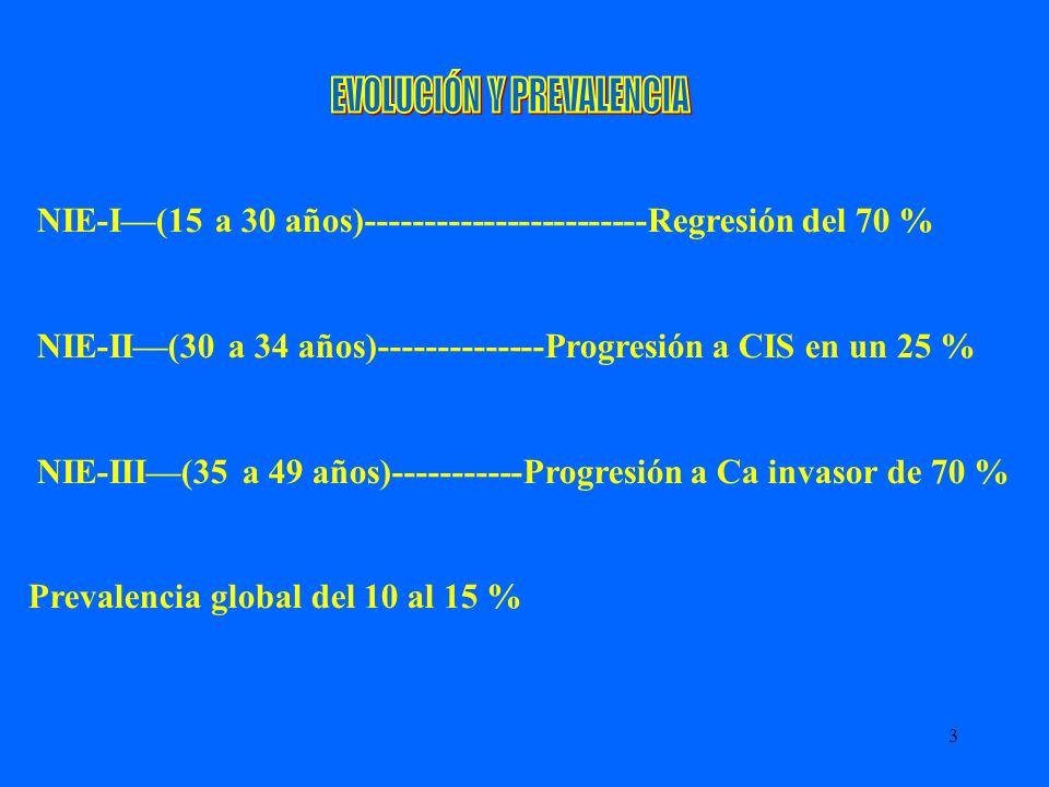 3 NIE-I(15 a 30 años)------------------------Regresión del 70 % NIE-II(30 a 34 años)--------------Progresión a CIS en un 25 % NIE-III(35 a 49 años)---