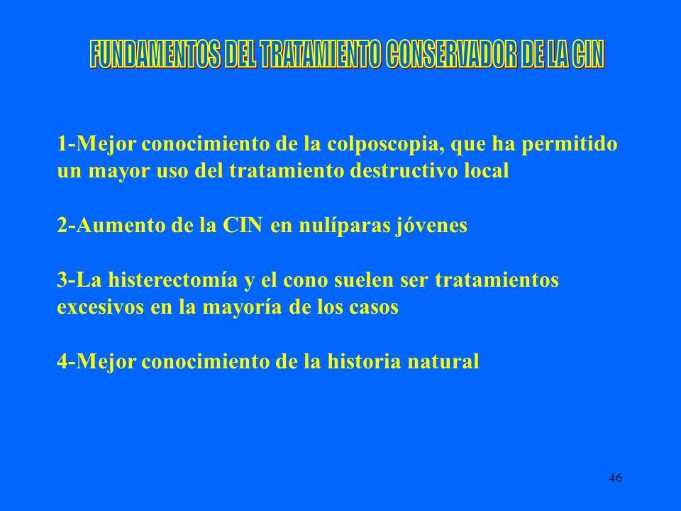 46 1-Mejor conocimiento de la colposcopia, que ha permitido un mayor uso del tratamiento destructivo local 2-Aumento de la CIN en nulíparas jóvenes 3-