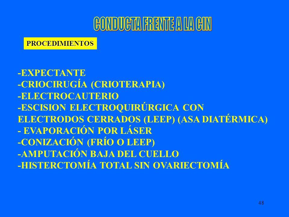 48 PROCEDIMIENTOS -EXPECTANTE -CRIOCIRUGÍA (CRIOTERAPIA) -ELECTROCAUTERIO -ESCISION ELECTROQUIRÚRGICA CON ELECTRODOS CERRADOS (LEEP) (ASA DIATÉRMICA)