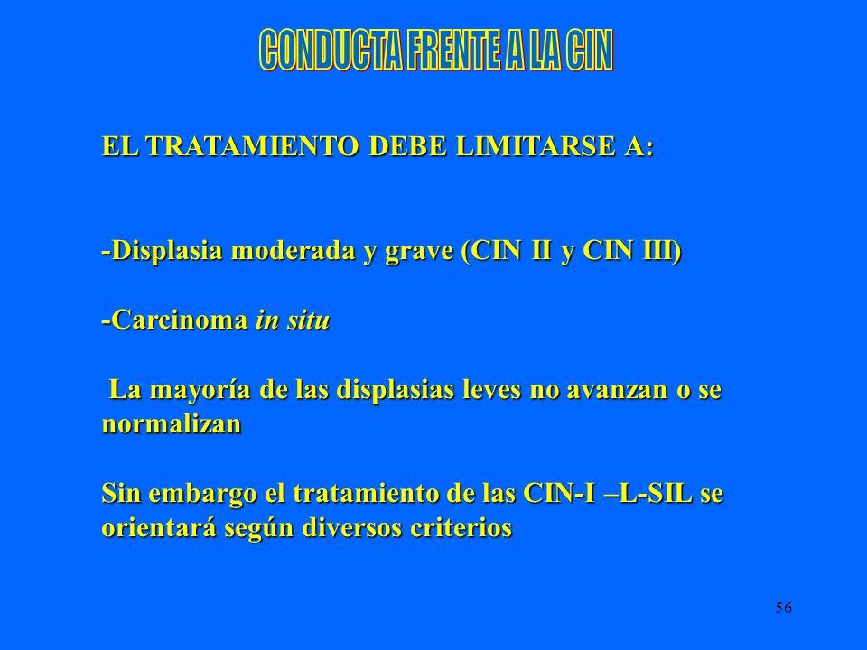 56 EL TRATAMIENTO DEBE LIMITARSE A: -Displasia moderada y grave (CIN II y CIN III) -Carcinoma in situ La mayoría de las displasias leves no avanzan o
