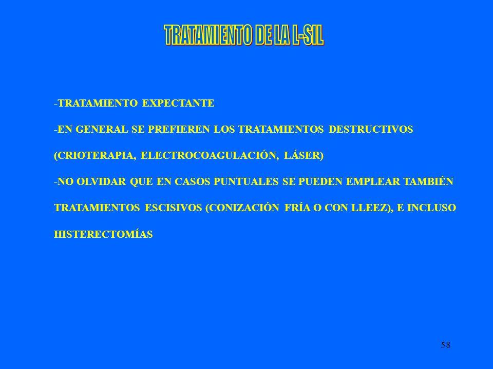 58 -TRATAMIENTO EXPECTANTE -EN GENERAL SE PREFIEREN LOS TRATAMIENTOS DESTRUCTIVOS (CRIOTERAPIA, ELECTROCOAGULACIÓN, LÁSER) -NO OLVIDAR QUE EN CASOS PU