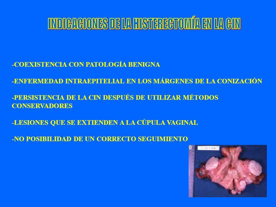 60 -COEXISTENCIA CON PATOLOGÍA BENIGNA -ENFERMEDAD INTRAEPITELIAL EN LOS MÁRGENES DE LA CONIZACIÓN -PERSISTENCIA DE LA CIN DESPUÉS DE UTILIZAR MÉTODOS
