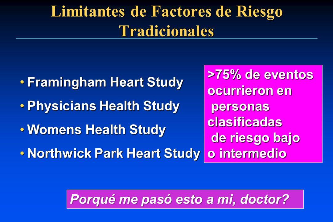 Limitantes de Factores de Riesgo Tradicionales Framingham Heart StudyFramingham Heart Study Physicians Health StudyPhysicians Health Study Womens Heal