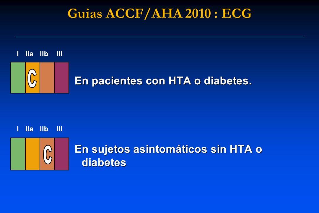 En pacientes con HTA o diabetes. En sujetos asintomáticos sin HTA o diabetes I IIaIIbIII I IIaIIbIII Guias ACCF/AHA 2010 : ECG