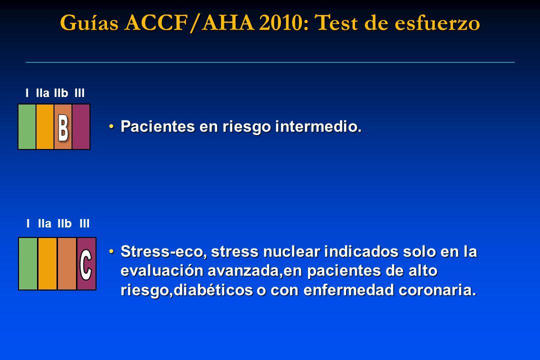 Pacientes en riesgo intermedio.Pacientes en riesgo intermedio. Stress-eco, stress nuclear indicados solo en la evaluación avanzada,en pacientes de alt