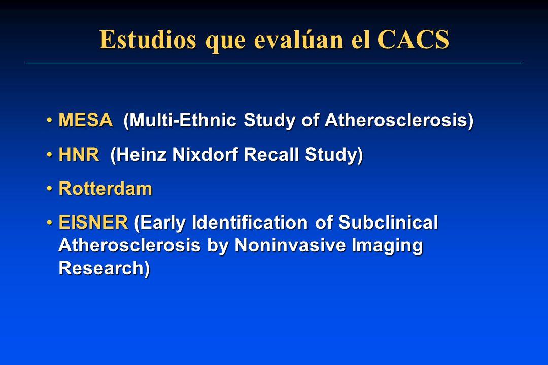 Estudios que evalúan el CACS MESA (Multi-Ethnic Study of Atherosclerosis)MESA (Multi-Ethnic Study of Atherosclerosis) HNR (Heinz Nixdorf Recall Study)