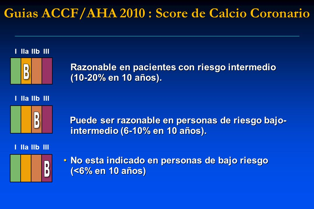 Razonable en pacientes con riesgo intermedio (10-20% en 10 años). Puede ser razonable en personas de riesgo bajo- intermedio (6-10% en 10 años). Puede