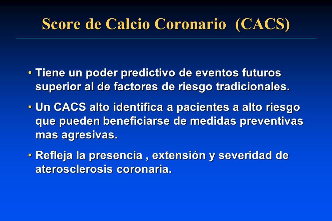 Score de Calcio Coronario (CACS) Tiene un poder predictivo de eventos futuros superior al de factores de riesgo tradicionales.Tiene un poder predictiv