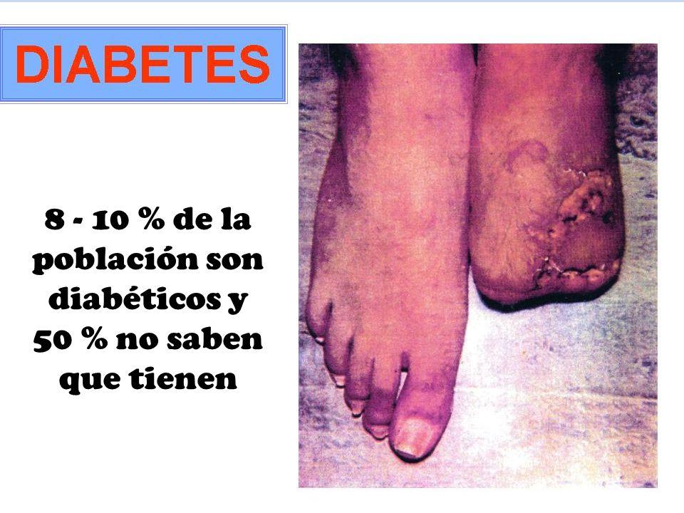 8 - 10 % de la población son diabéticos y 50 % no saben que tienen