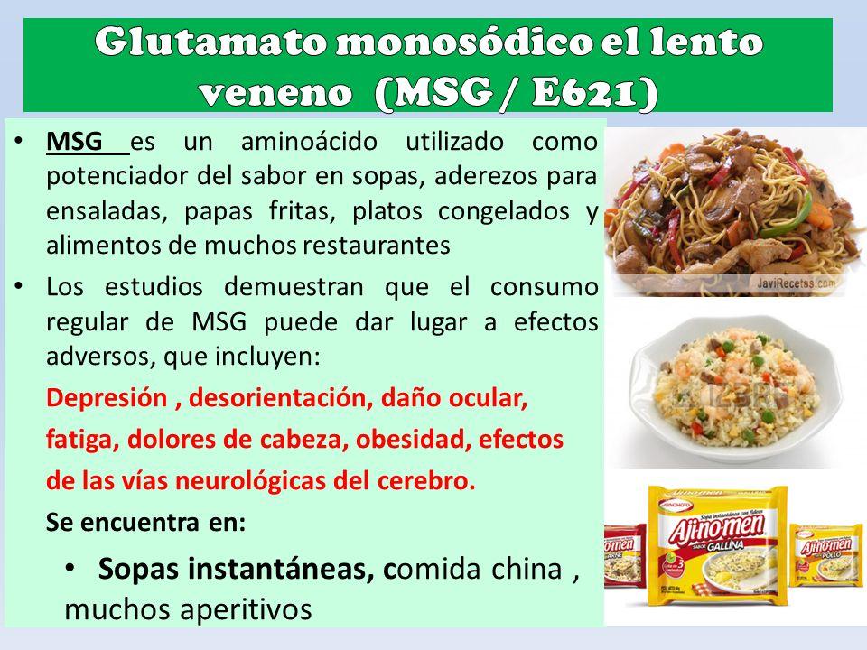 MSG es un aminoácido utilizado como potenciador del sabor en sopas, aderezos para ensaladas, papas fritas, platos congelados y alimentos de muchos res