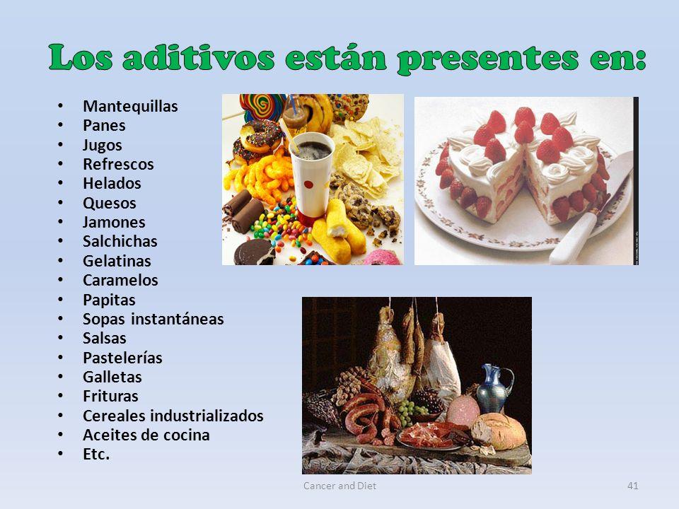 Cancer and Diet41 Mantequillas Panes Jugos Refrescos Helados Quesos Jamones Salchichas Gelatinas Caramelos Papitas Sopas instantáneas Salsas Pastelerí