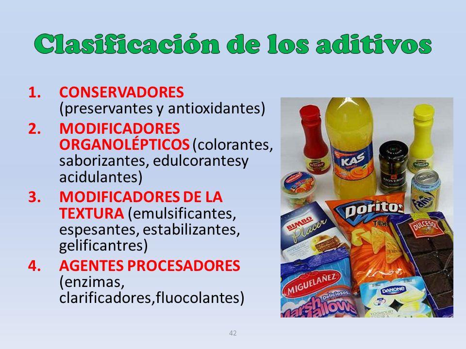42 1.CONSERVADORES (preservantes y antioxidantes) 2.MODIFICADORES ORGANOLÉPTICOS (colorantes, saborizantes, edulcorantesy acidulantes) 3.MODIFICADORES