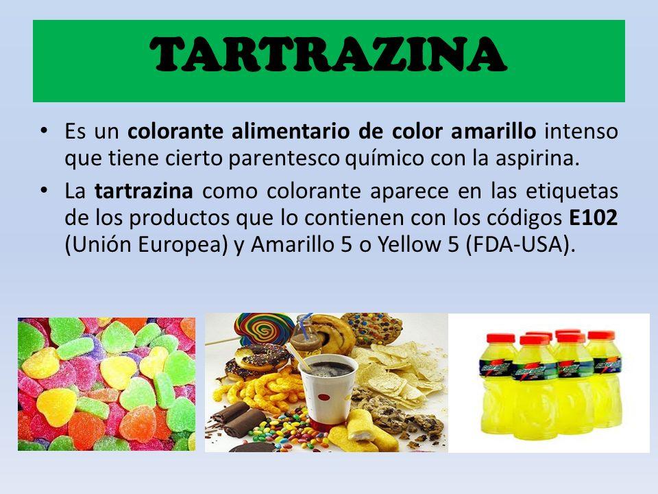 Es un colorante alimentario de color amarillo intenso que tiene cierto parentesco químico con la aspirina. La tartrazina como colorante aparece en las
