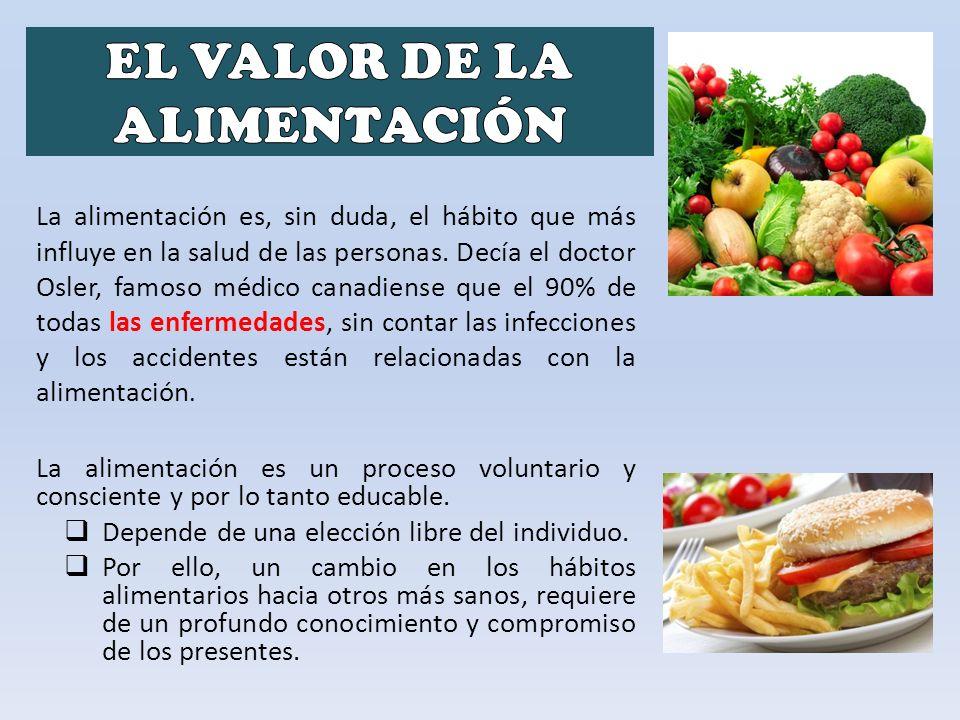 La alimentación es un proceso voluntario y consciente y por lo tanto educable. Depende de una elección libre del individuo. Por ello, un cambio en los