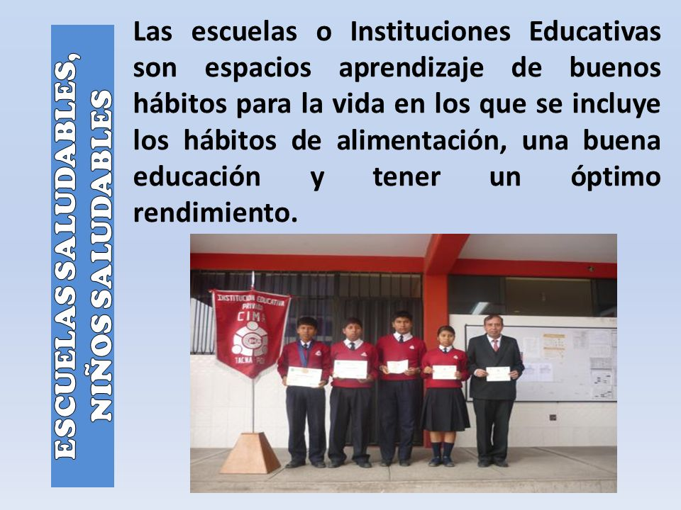 Las escuelas o Instituciones Educativas son espacios aprendizaje de buenos hábitos para la vida en los que se incluye los hábitos de alimentación, una buena educación y tener un óptimo rendimiento.