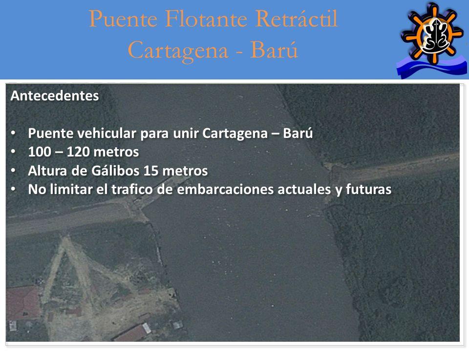 10 Puente Flotante Retráctil Cartagena - Barú Antecedentes Puente vehicular para unir Cartagena – Barú 100 – 120 metros Altura de Gálibos 15 metros No