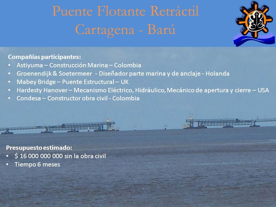 14 Puente Flotante Retráctil Cartagena - Barú Compañías participantes: Astiyuma – Construcción Marina – Colombia Groenendijk & Soetermeer - Diseñador