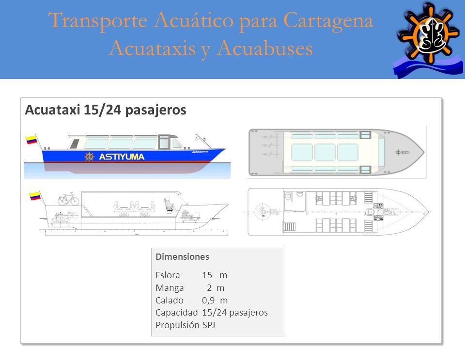 19 Acuataxi 15/24 pasajeros Transporte Acuático para Cartagena Acuataxis y Acuabuses Dimensiones Eslora15 m Manga 2 m Calado0,9 m Capacidad15/24 pasaj