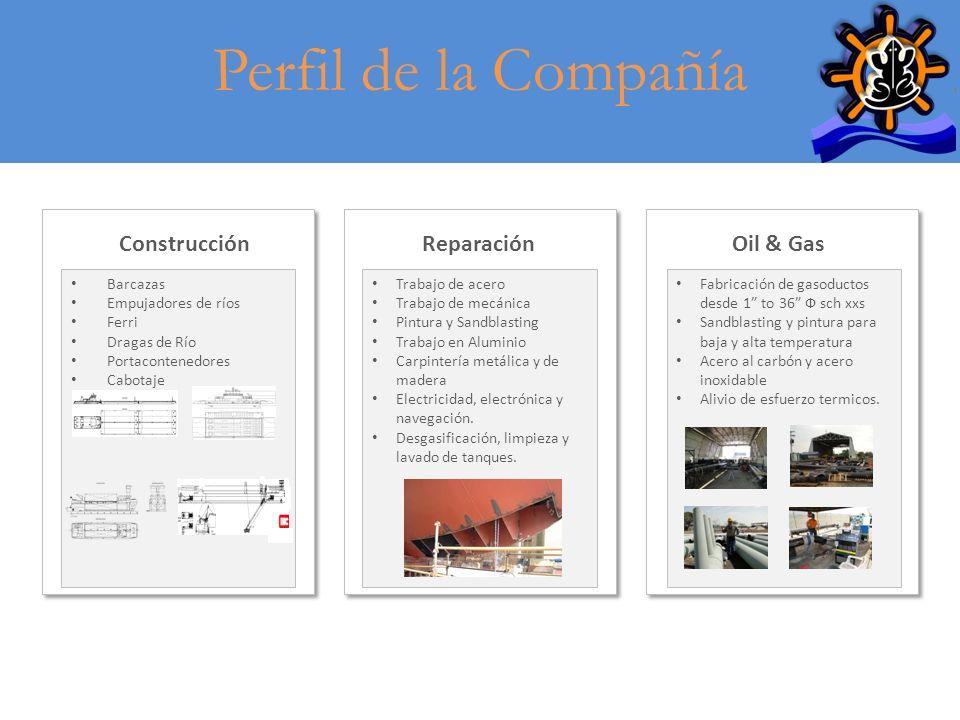 Perfil de la Compañía Barcazas Empujadores de ríos Ferri Dragas de Río Portacontenedores Cabotaje ConstrucciónReparaciónOil & Gas Trabajo de acero Tra