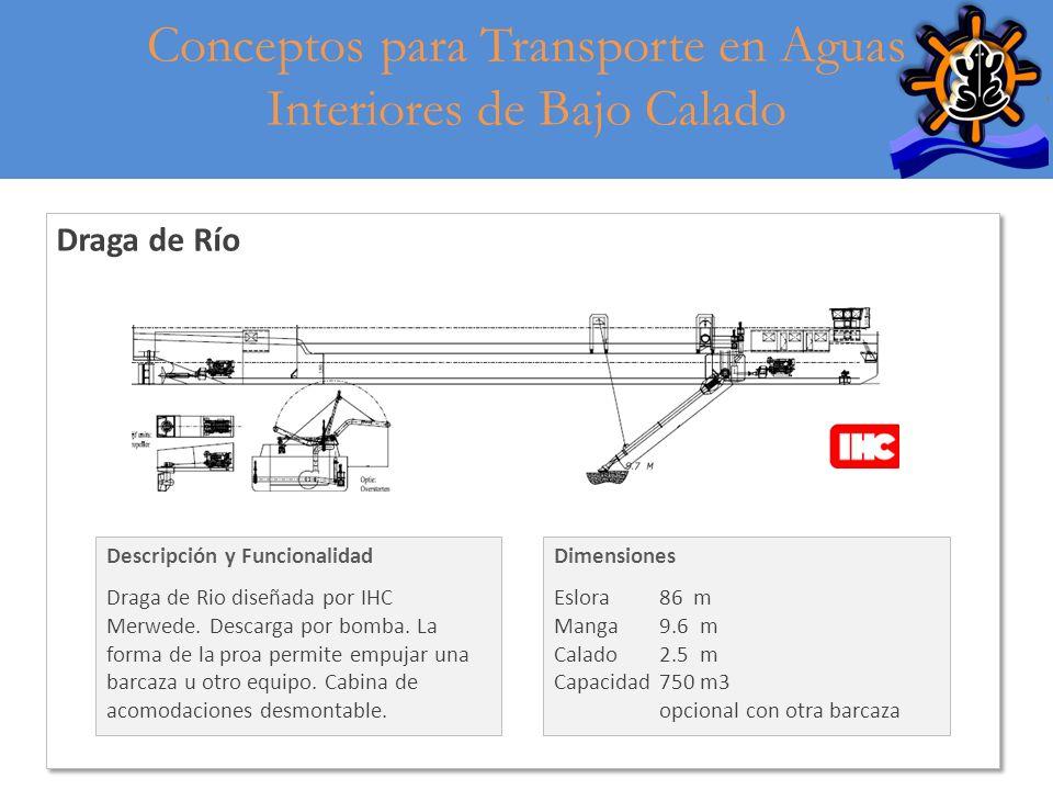 6 Draga de Río Descripción y Funcionalidad Draga de Rio diseñada por IHC Merwede. Descarga por bomba. La forma de la proa permite empujar una barcaza