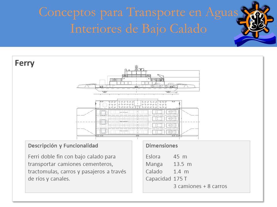 8 Ferry Descripción y Funcionalidad Ferri doble fin con bajo calado para transportar camiones cementeros, tractomulas, carros y pasajeros a través de