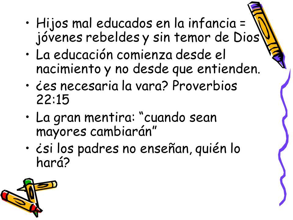 Hijos mal educados en la infancia = jóvenes rebeldes y sin temor de Dios La educación comienza desde el nacimiento y no desde que entienden. ¿es neces