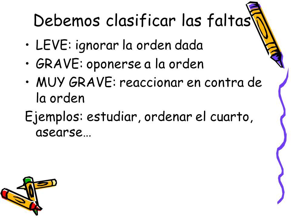 Debemos clasificar las faltas LEVE: ignorar la orden dada GRAVE: oponerse a la orden MUY GRAVE: reaccionar en contra de la orden Ejemplos: estudiar, o