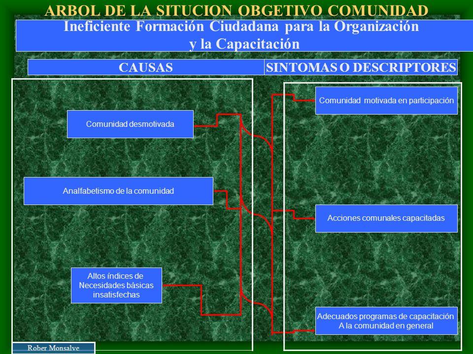 ARBOL DE LA SITUCION OBGETIVO COMUNIDAD Altos índices de Necesidades básicas insatisfechas Analfabetismo de la comunidad Comunidad desmotivada Comunid